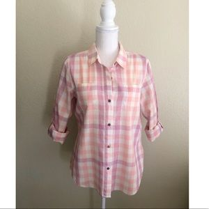The North Face Orange/Pink Plaid Shirt